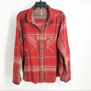 Free people red plaid button down top